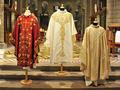 "Chasuble BD1 - On 5 May, the award winners of the chasuble competition, which was organised to celebrate the centenary of the consecration of the Cathedral, were announced. The panel of judges, which was presided over by H.R.H. the Princess of Hanover, chose ""the Centenary Chasuble"" among 18 candidates coming from Panama, the United States, Byelorussia, Belgium, Italy, France and Monaco. ""The Centenary Chasuble"", which was made by the ""De fil en aiguille"" association, required five and a half months of embroidery work, 392 metres of silver thread and 1752 hours of work."