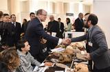 Agora 2019 - Photo caption: H.S.H. the Sovereign Prince during his visit to the Museum of Prehistoric Anthropology's stand – © Manuel Vitali – Government Communication Department