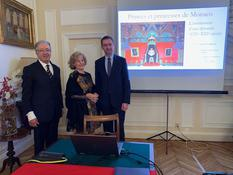 Conférence Fouilleron Italie - H.E. Mr Robert Fillon, Monaco's Ambassador in Italy, Mrs Fillon and Mr Thomas Fouilleron, Director of the Prince's Palace Archives and Library.© DR