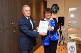 CSM OMS - Ms Zsuzanna Jakab, the WHO's Regional Director for Europe, presenting the official declaration to Professor Patrick Rampal, President of the Board of Directors of the Scientific Centre. © - Government Communication Department / Manuel Vitali