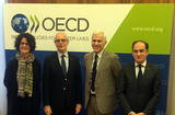 Dépôt OCDE - From left to right: Ms Josée Fecteau, Deputy Director of Legal Affairs, OECD; H.E Mr Serge Telle, Minister of State; Mr Nicola Bonucci, Director of Legal Affairs, OECD; Mr Jean Castellini, Minister of Finance and Economy
