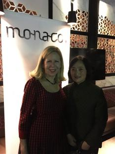 DTC Chine NYC - From left to right:  Ms. Cindy Hoddeson (Monaco Tourist Authority in North America) and Ms. Willow Hai Chang (China Institute Gallery)