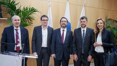 eutelsat - Christian Roisse, outgoing Executive Secretary of Eutelsat-IGO (France), Rodolphe Belmer, Director General of Eutelsat S.A., Mr. Piotr Dmochowski-Lipski, Elected Executive Secretary of Eutelsat-IGO (Poland), Frédéric Labarrère, President of the Assembly of Parties of Eutelsat-IGO (Monaco) and Ivana Stankovic, Vice-President (Serbia).