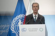 Gilles Tonelli - Cop24 - Gilles Tonelli, Minister of Foreign Affairs and Cooperation, speaking from the podium at the COP 24 high-level segment © DR
