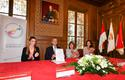 La Mairie signe le PNTE 8-10-18 -  The Mayor, Georges Marsan, signs the National Energy Transition Pact Commitment Charter in the Wedding Hall, alongside Marie-Pierre Gramaglia and Annabelle Jaeger-Seydoux (right)and Marjorie Crovetto-Harroch (left)Photo credit: Michael Alesi © Government Communication Department