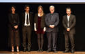 Voir la photo - Photo Caption:From left to right:  Zabou Breitman, winner of the High School Students' Favourite Choice, Gilles Marchand, Blandine Rinkel, winner of the Discovery Grant, Michel Tremblay, winner of the Literary Prize and Admir Shkurtaj, winner of the Young Music Fans' Favourite Choice © Government Communication Department/Charly Gallo