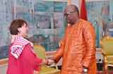 Mission Burkina - Isabelle Rosabrunetto, Director General of the Ministry of Foreign Affairs and Cooperation and H.E. Mr Roch Marc Christian Kabore, President of Burkina Faso  ©DIRCOM:Présidence du Faso