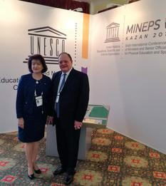 Monaco MINEPS VI - H.E. Ms. Lambin-Berti, Ambassador, Permanent Delegate of the Principality of Monaco to UNESCO, with Mr. Gert Oosthuizen, President of the Intergovernmental Committee for Physical Education and Sport, at the opening of the MINEPS VI Conference © DR