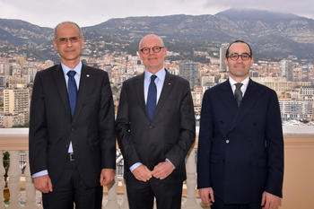 Monaco, San Marin et Andorre HD - Surrounding the Minister of State, from left to right, Mr Antoni Martí Petit and Mr Nicola Renzi © Charly Gallo/Government Communication Department