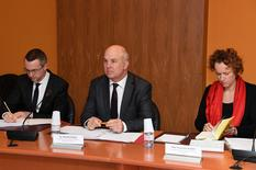 Muiznieks - Mr Giancarlo Cardinale, Deputy to the Director of the Office of the Commissioner for Human Rights; Mr Nils Muižnieks, Council of Europe Commissioner for Human Rights; and Ms Françoise Kempf, Advisor © Government Communication Department / Manuel Vitali