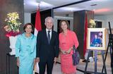 Réception Paris 2018 - H.E. Mr Claude Cottalorda, his wife and H.E. Ms Ségolène Royal © Cyril Bailleul