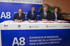Signature bretelle Beausoleil - From left to right: Jean-Claude Guibal, President of the French Riviera Conurbation Community; Charles Ange Ginesy, President of the Alpes-Maritimes Departmental Council; Serge Telle, Minister of State of the Principality, and Blaise Rapior, Director General of the ESCOTA Network at VINCI Autoroutes © Government Communication Department/Stéphane Danna