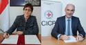 signature CICR - Ms Isabelle Rosabrunetto, Director General of the Ministry of Foreign Affairs and Cooperation © Government Communication Department / Michael Alesi; and Mr Yves Arnoldy, Head of the Regional Delegation (France and South Europe) for the ICRC © ICRC