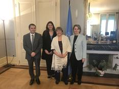 Voir la photo - From left to right: Mr Gilles Realini (First Secretary at Monaco's Permanent Representation in Geneva), Ms Francesca Casalone (Intern at Monaco's Permanent Representation in Geneva), Ms Michelle Bachelet (United Nations High Commissioner for Human Rights) and H.E. Ms Carole Lanteri (Ambassador and Permanent Representative of Monaco to the Office of the United Nations in Geneva) - © DR