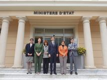 Visite Pologne - From left to right:  Marie-Noëlle Albertini, Diplomatic Advisor at the Ministry of Foreign Affairs and Cooperation;  Anne-Marie Boisbouvier, Advisor in the Cabinet of H.S.H. the Prince;  Marie-Catherine Caruso-Ravera, Director of Diplomatic and Consular Relations;  Martin Ociepa, Under-Secretary of State at the Ministry of Entrepreneurship and Technology;  Isabelle Rosabrunetto, Director General of the Ministry of Foreign Affairs and Cooperation and Aleksander Siemaszko, Head of the European Countries Unit, International Trade Department, Ministry of Entrepreneurship and Technology of Poland ©DR